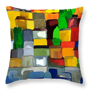 Village By The Sea Throw Pillow by Haleh Mahbod