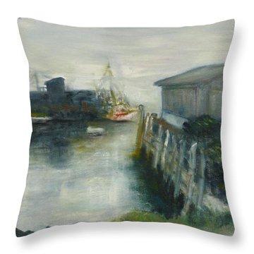 Port Clyde In Fog Throw Pillow