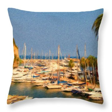 Port De Fontvieille Throw Pillow by Jeffrey Kolker