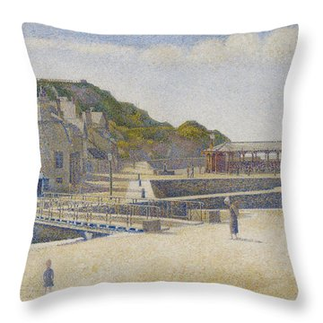 Port En Bessin Throw Pillow by Georges Pierre Seurat