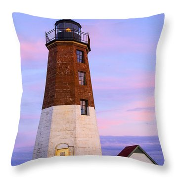Port Judith At Sunset Throw Pillow by Karol Livote