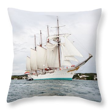 Juan Sebastian De Elcano Famous Tall Ship Of Spanish Navy Visits Port Mahon In Front Of Bloody Islan Throw Pillow
