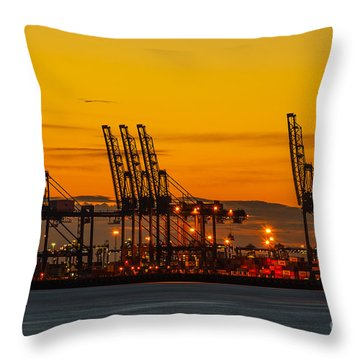 Port Of Felixstowe Throw Pillow by Svetlana Sewell