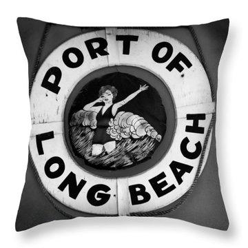 Port Of Long Beach Life Saver By Denise Dube Throw Pillow