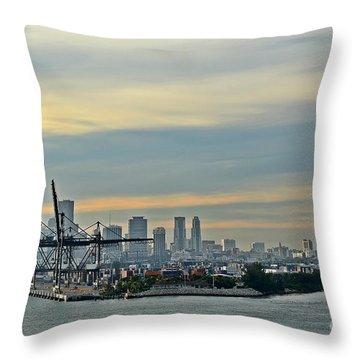 Port Of Miami Throw Pillow by Gary Smith
