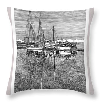 Reflections Of Port Orchard Washington Throw Pillow by Jack Pumphrey