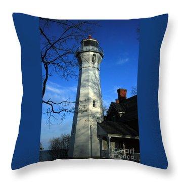 Port Sanilac Lighthouse Throw Pillow by Kathy DesJardins
