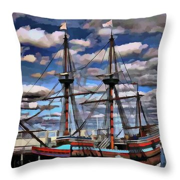 Throw Pillow featuring the painting Port Ship Dynamics by Mario Carini