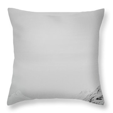Portage Lake In Fog Throw Pillow
