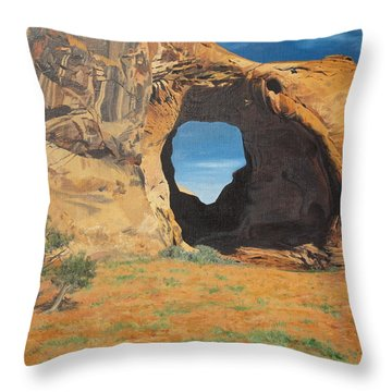 Portal At Window Rock  Throw Pillow by Barbara Barber