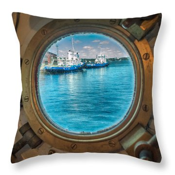Hmcs Haida Porthole  Throw Pillow