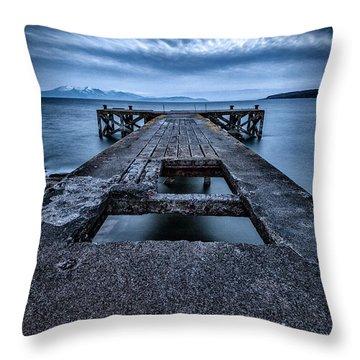 Portencross Pier  Throw Pillow by John Farnan
