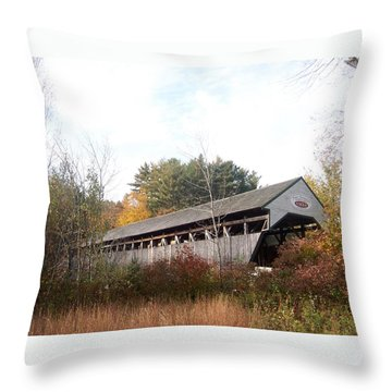 Porter Covered Bridge Throw Pillow by Catherine Gagne