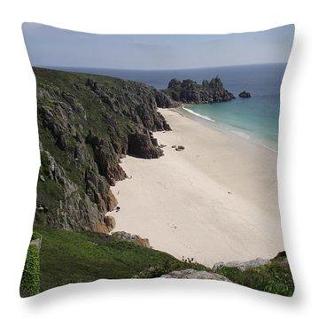 Porthcurno Cove Throw Pillow