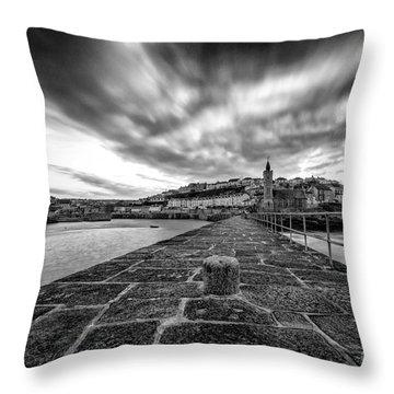 Porthleven Pier Throw Pillow by John Farnan