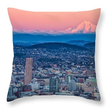 Portland And Mt Hood Throw Pillow by Patricia Davidson