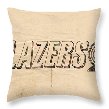 Portland Blazers Logo Poster Throw Pillow by Florian Rodarte
