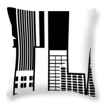 Portland City Skyline Text Outline Illustration Throw Pillow by Jit Lim