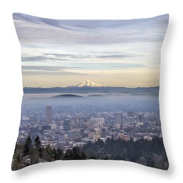 Portland Downtown Foggy Cityscape Throw Pillow by Jit Lim