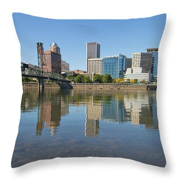 Throw Pillow featuring the photograph Portland Downtown Skyline And Hawthorne Bridge by JPLDesigns