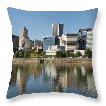 Throw Pillow featuring the photograph Portland Downtown Waterfront Skyline Panorama by JPLDesigns