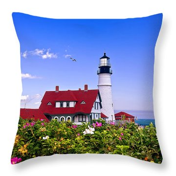 Portland Head Light And Roses Throw Pillow