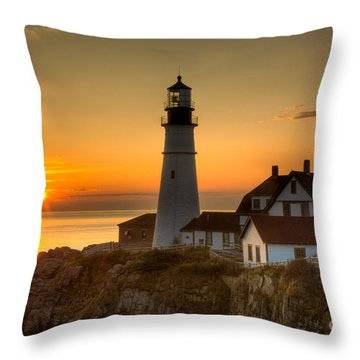 Portland Head Light At Sunrise II Throw Pillow by Clarence Holmes
