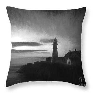 Portland Head Light At Sunrised Throw Pillow