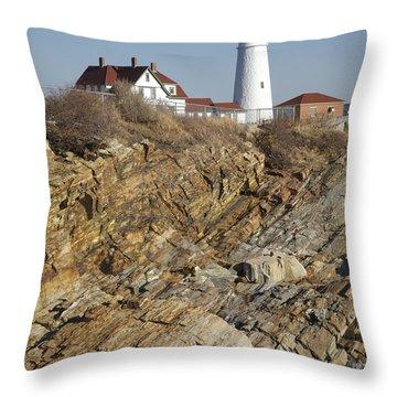 Portland Head Light - Cape Elizabeth Maine Throw Pillow by Erin Paul Donovan