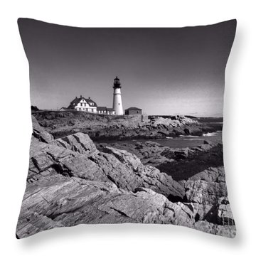 Portland Head Light Throw Pillow by Elizabeth Dow