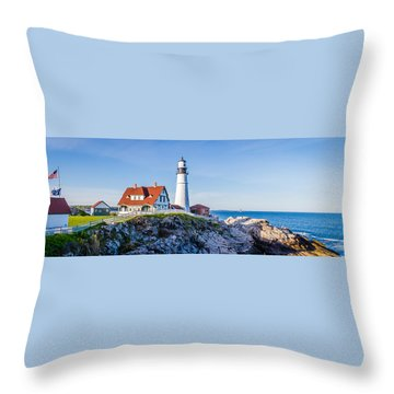 Portland Head Light House Cape Elizabeth Maine Throw Pillow