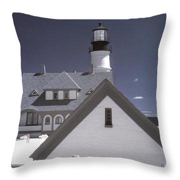 Portland Head Light In Ir Throw Pillow by Joann Vitali