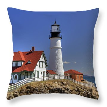 Portland Head Light Throw Pillow by Joann Vitali