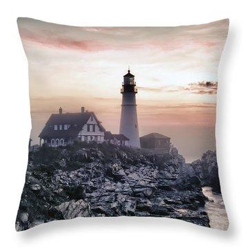 Throw Pillow featuring the photograph Portland Head Light Summer Sunrise by Richard Bean