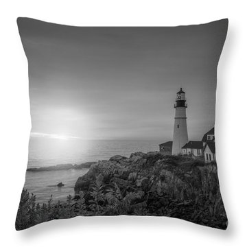 Portland Head Light Sunrise Bw Throw Pillow