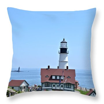 Portland Head Light Throw Pillow by Tara Potts