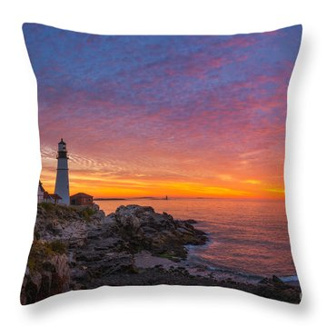 Portland Head Light Warm Tones Throw Pillow