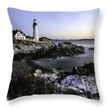 Portland Head Lighthouse At Dawn Throw Pillow by Betty Denise