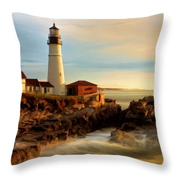 Portland Head Lighthouse At Dawn Throw Pillow