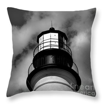 Portland Head Lighthouse In Black And White Throw Pillow