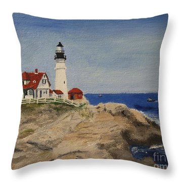 Portland Head Lighthouse In Maine Throw Pillow