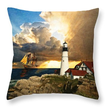 Portland Head Lighthouse Throw Pillow by Lianne Schneider