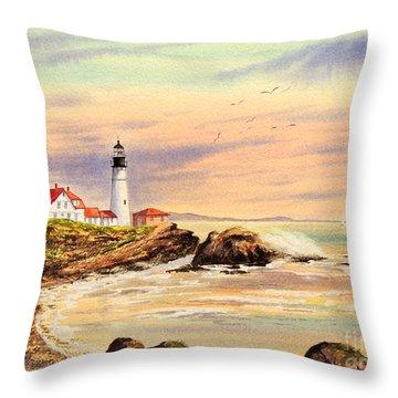 Portland Head Lighthouse Maine Throw Pillow