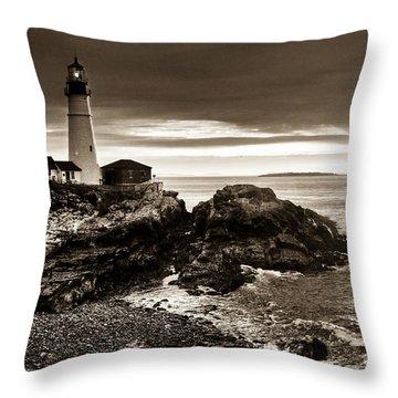 Throw Pillow featuring the photograph Portland Head Lighthouse Sunrise by Alana Ranney