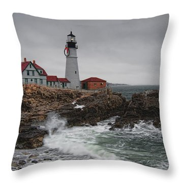 Portland Headlight @ Christmas Throw Pillow by Richard Bean