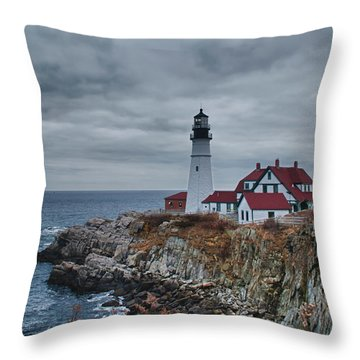 Throw Pillow featuring the photograph Portland Headlight 14440 by Guy Whiteley