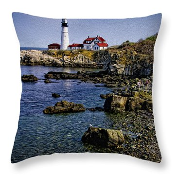 Portland Headlight 37 Oil Throw Pillow by Mark Myhaver