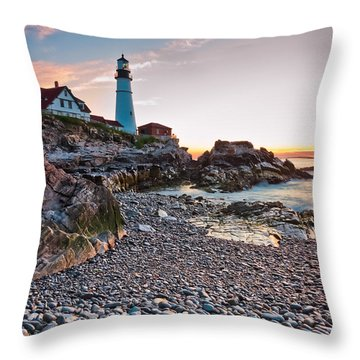Portland Headlight Dawn Throw Pillow