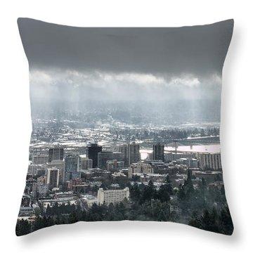 Portland Oregon After A Morning Rain Throw Pillow