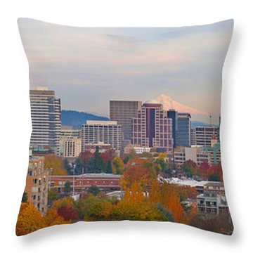 Portland Oregon City Skyline And Mount Hood Throw Pillow